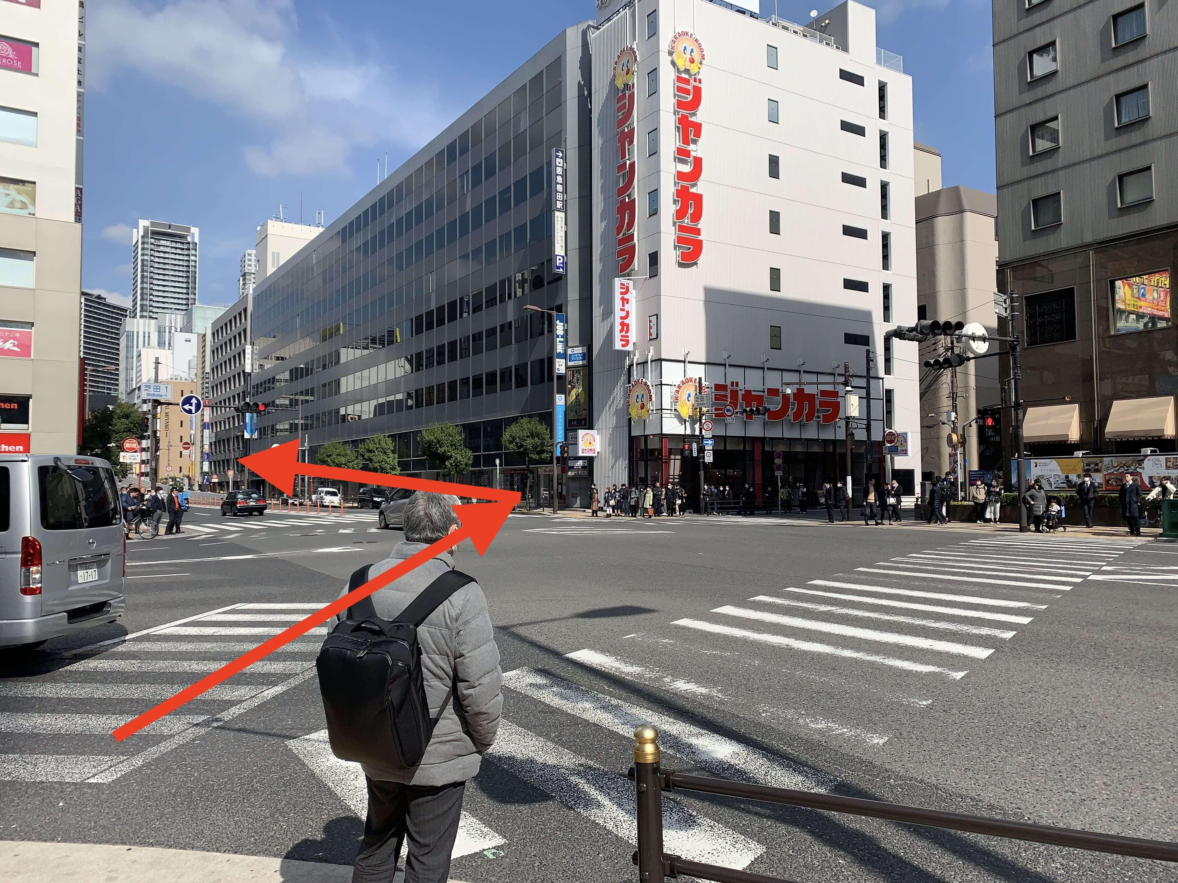 JR大阪駅・御堂筋線梅田駅から スタジオインディ大阪梅田スタジオへの アクセス5