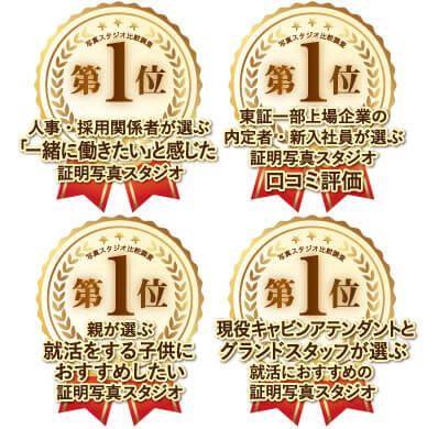就活証明写真比較調査で1位を獲得したときのロゴ